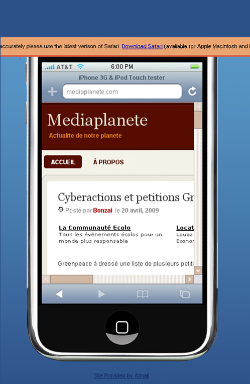 Tester son site sur un iphone