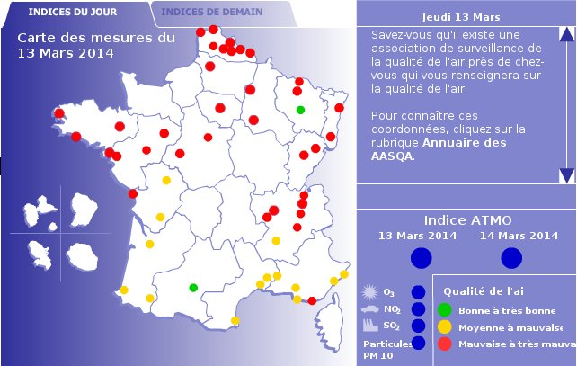 Carte de Pollution Atmo pour le 13 mars 2014