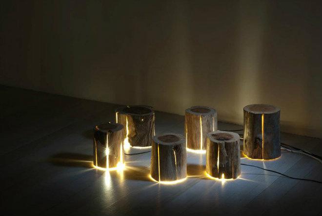 rondins bois lampe electrique