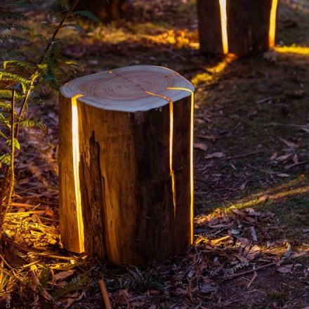 Cet artiste aveugle crée d'incroyables éclairages avec des rondins de bois naturels